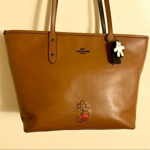 Disney x Coach Saddle Brown Leather Tote Bag
